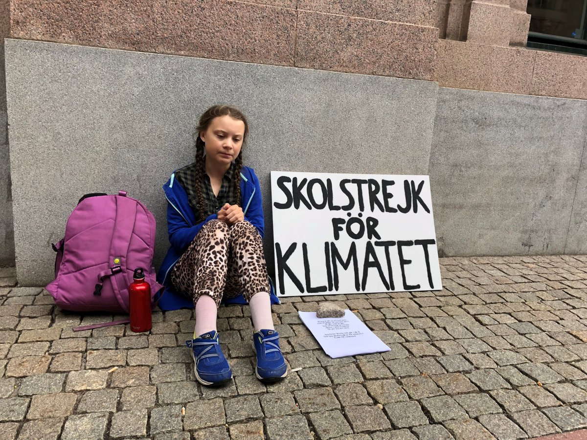 in sweden a school girl is on strike from school to raise climate